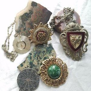 Bundle silver/gold vintage pendants 5 total